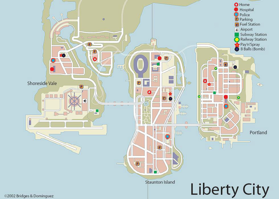 Les Differentes Iles Plan De La Ville Voici La Carte De Liberty City